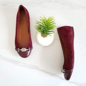 Coach Lelia Wine Ballet Flats Cap Toe Suede Shoes